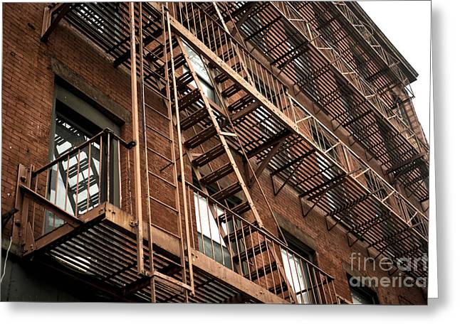 Red Brick In Chinatown Greeting Card by John Rizzuto