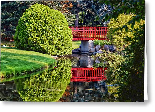 Red Bridge At Dow Gardens Greeting Card
