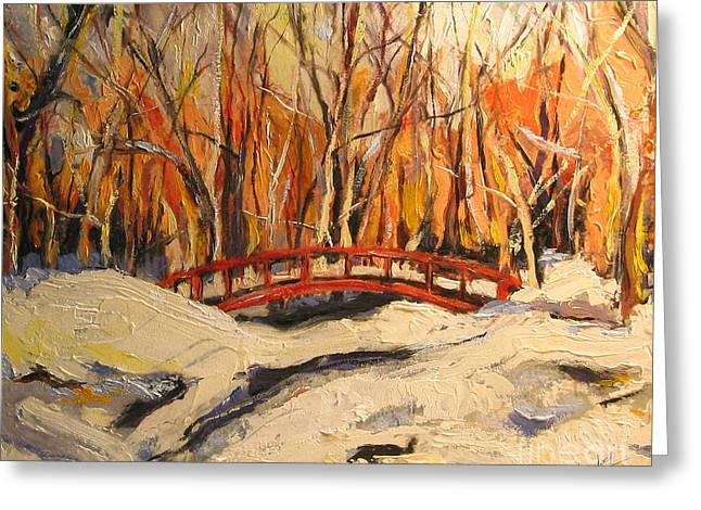 Greeting Card featuring the painting Red Bridge by Debora Cardaci
