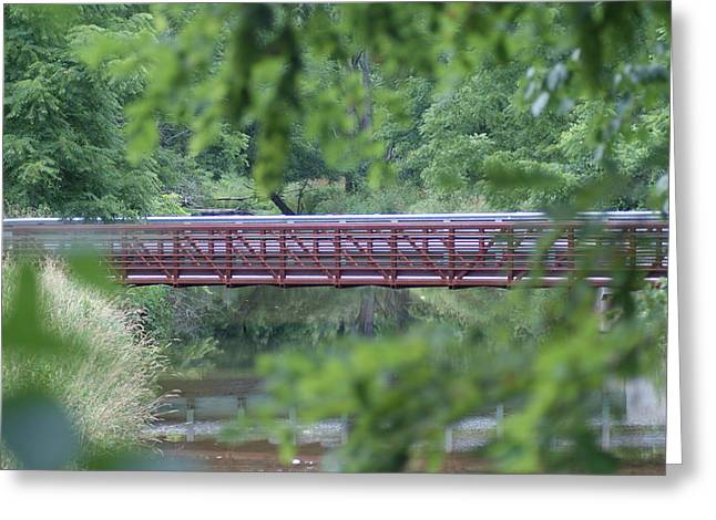 Red Bridge Greeting Card by Heather Green