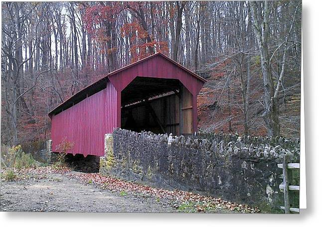 Greeting Card featuring the photograph Red Bridge by Melinda Blackman