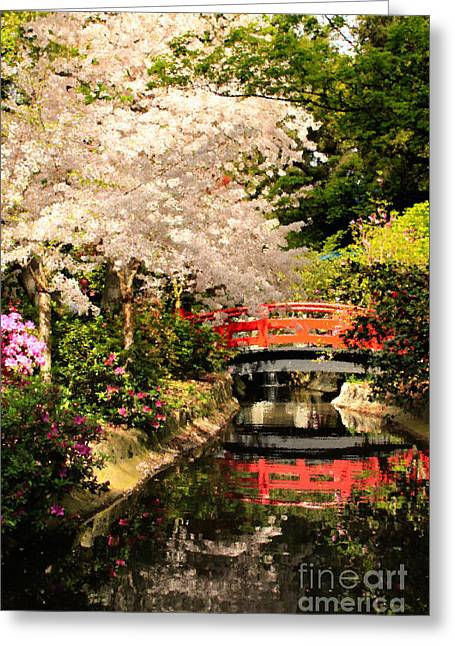 Red Bridge Reflection Greeting Card by James Eddy
