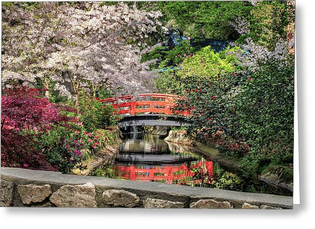 Greeting Card featuring the photograph Red Bridge Spring Reflection by James Eddy