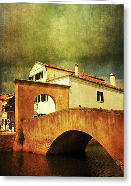 Greeting Card featuring the photograph Red Bridge With Storm Cloud by Anne Kotan