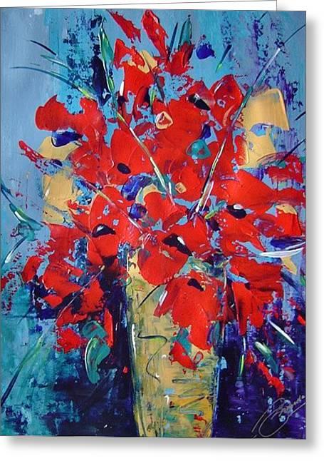 Red Greeting Card by Bridgette  Allan