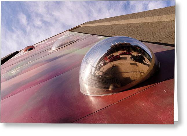Red Bubble On A Downtown Wall Outside With Reds And Sky In Grand Rapids Michigan Greeting Card