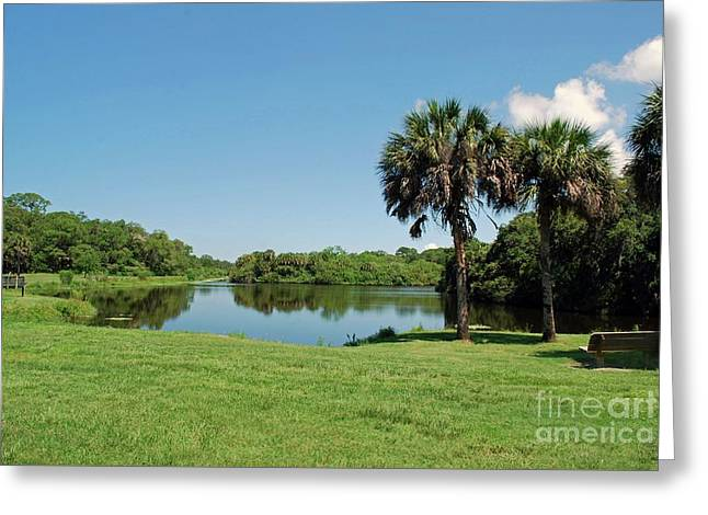 Greeting Card featuring the photograph Red Bug Slough by Gary Wonning