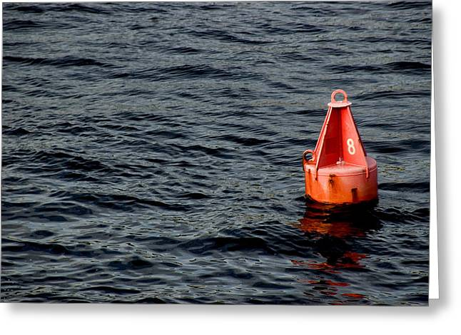 Red Buoy Marked With Number Eight Greeting Card