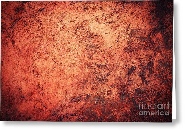Red Burnt Clay With Scratched Surface Greeting Card