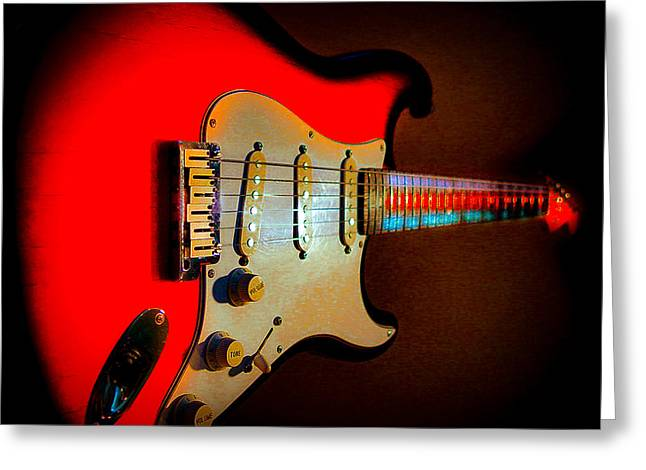 Red Burst Stratocaster Glow Neck Series Greeting Card