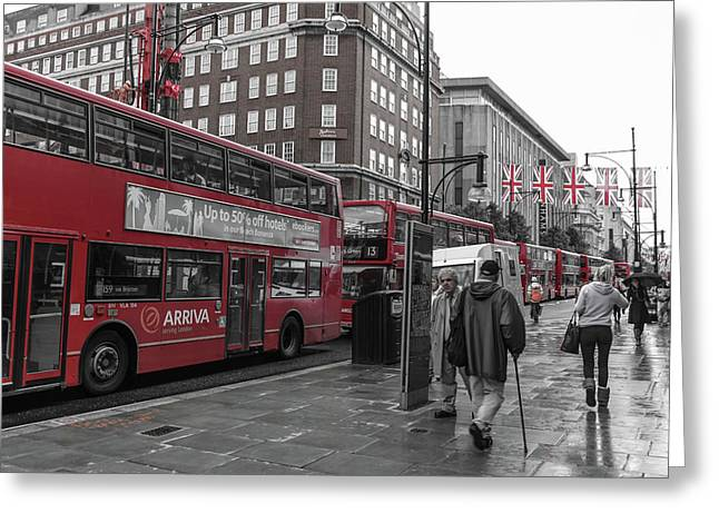 Red Buses And Rain Greeting Card