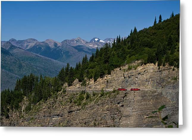 Red Buses, Glacier National Park Greeting Card