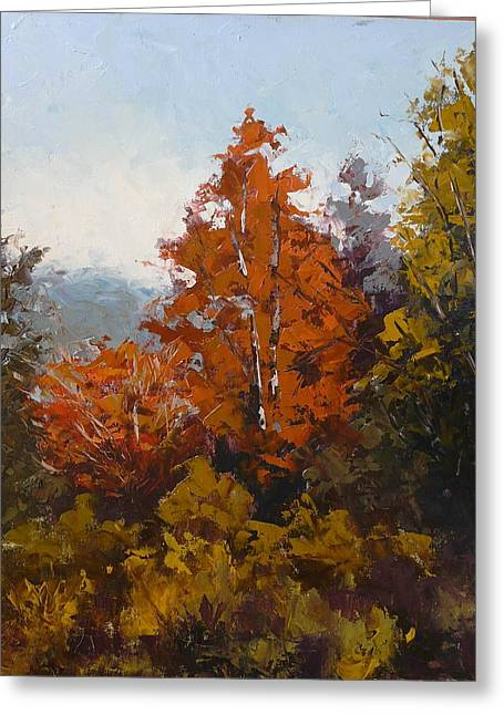 Pallet Knife Greeting Cards - Red Bush Greeting Card by Yvonne Ankerman