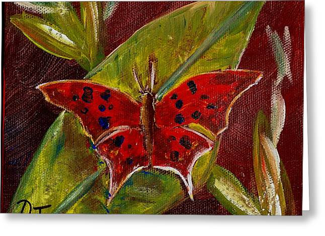 Red Butterfly Greeting Card by Dalila Jasmin