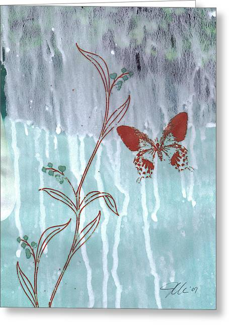 Red Butterfly Greeting Card by Jennifer Bonset