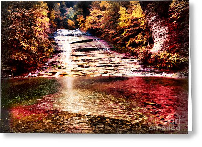Red Buttermilk Falls New York Autumn Greeting Card by Robert Gaines