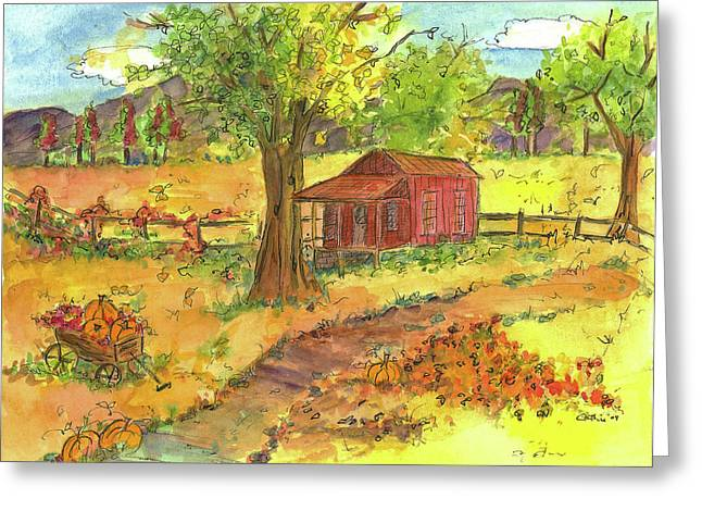 Country Cottage Drawings Greeting Cards - Red Cabin in Autumn  Greeting Card by Cathie Richardson