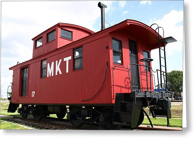 Red Caboose Greeting Card by Dennis Stein