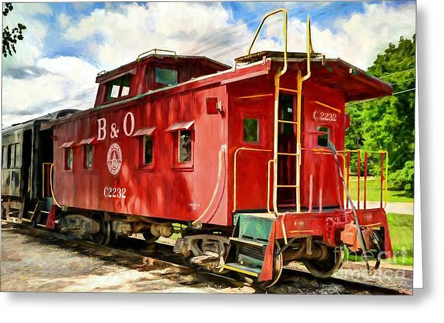 Red Caboose Greeting Card by Mel Steinhauer