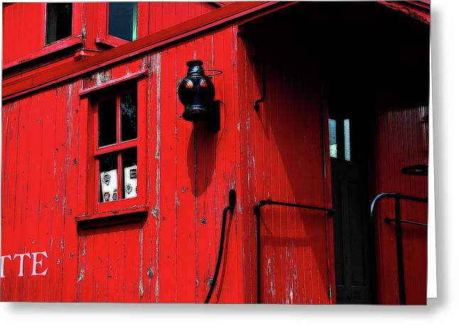 Huckleberry Railroad Greeting Cards - Red Caboose Greeting Card by Scott Hovind