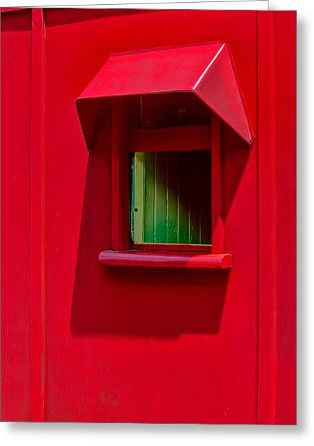 Red Caboose Window In Shade Greeting Card