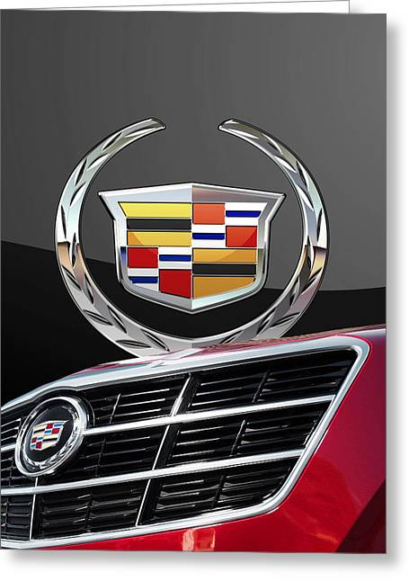 Red Cadillac C T S - Front Grill Ornament And 3d Badge On Black Greeting Card by Serge Averbukh
