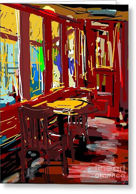 Red Cafe Greeting Card by Sandra Haney
