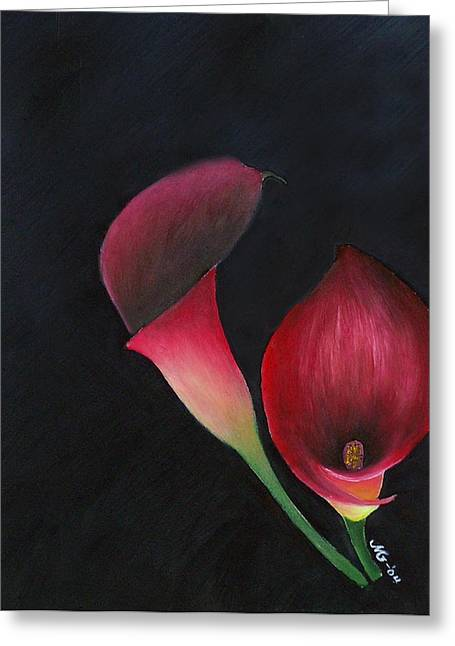 Red Calla Lillies Greeting Card by Mary Gaines