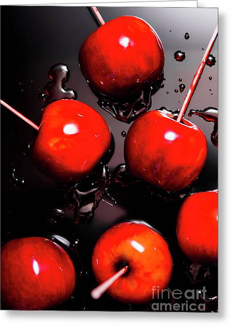 Red Candy Apples Or Apple Taffy Greeting Card by Jorgo Photography - Wall Art Gallery