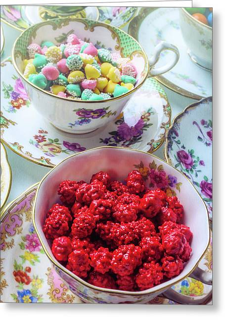 Red Candy In Tea Cup Greeting Card by Garry Gay