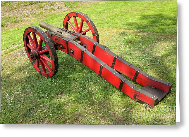 Red Cannon At Swedes Invasion Greeting Card by Arletta Cwalina