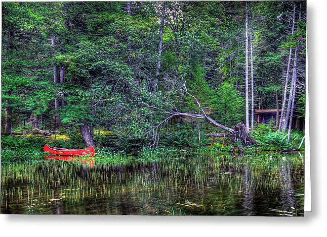 Red Canoe Among The Reeds Greeting Card