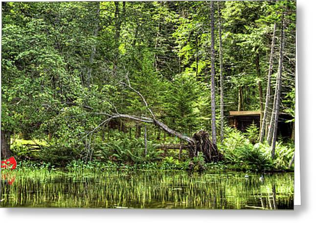 Greeting Card featuring the photograph Red Canoe Panorama by David Patterson