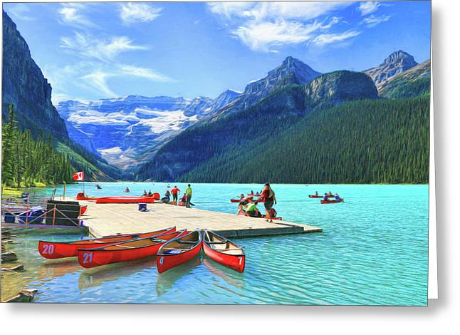 Greeting Card featuring the photograph Red Canoes  Of Lake Louise - Banff National Park Canada by Ola Allen