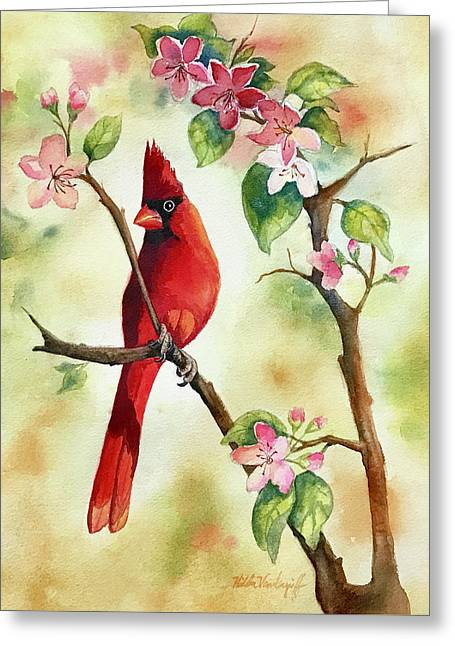 Red Cardinal And Blossoms Greeting Card