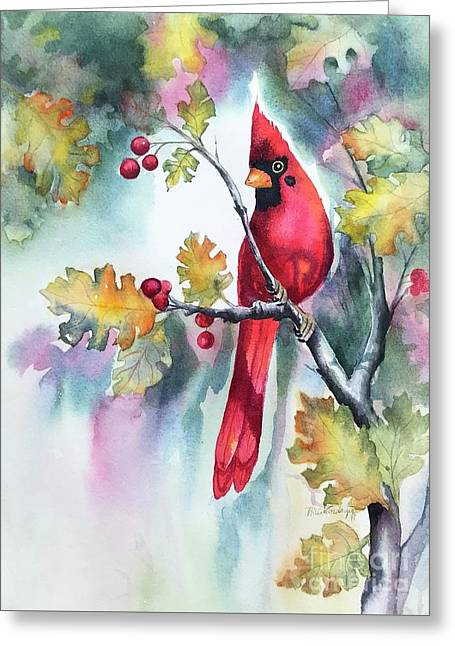 Red Cardinal With Berries Greeting Card