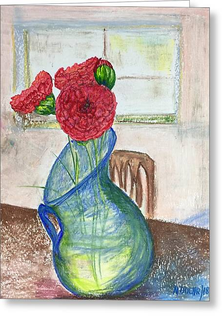 Red Carnations Greeting Card