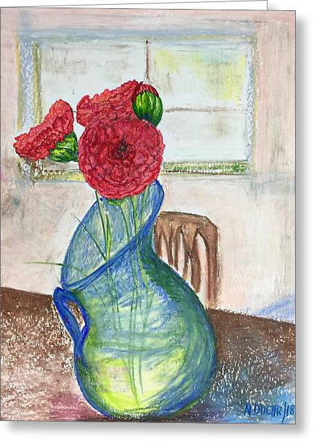 Greeting Card featuring the mixed media Red Carnations by Norma Duch