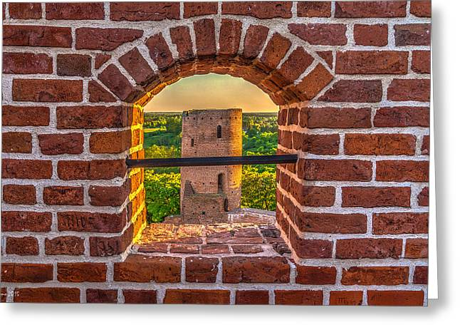 Red Castle Window View Greeting Card