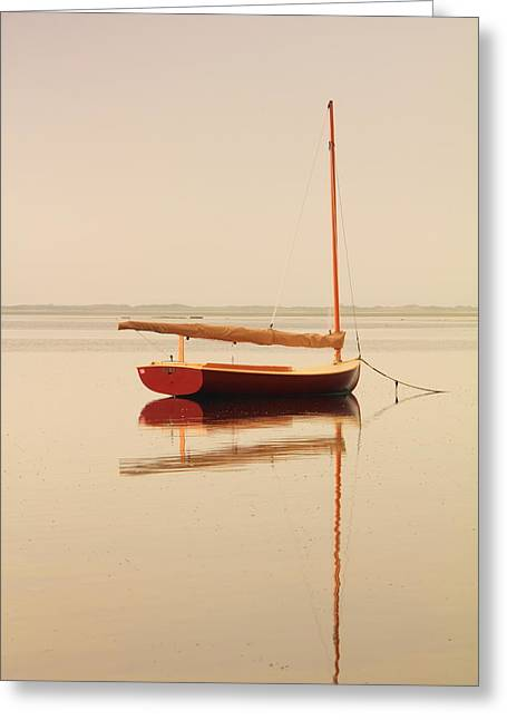 Red Catboat On Misty Harbor Greeting Card