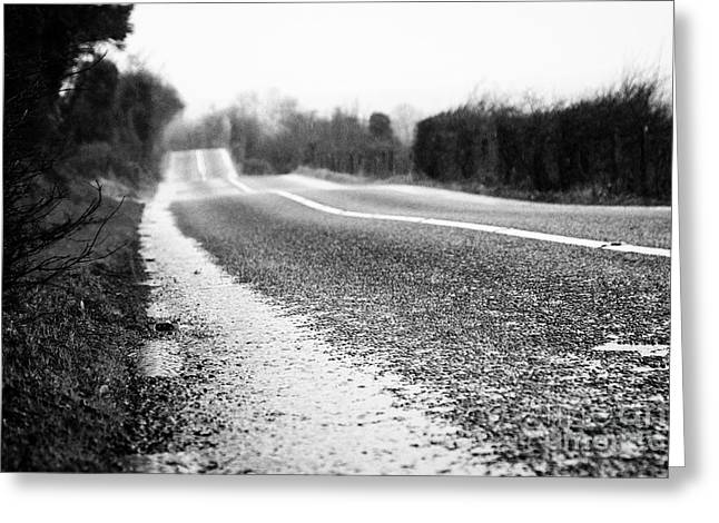 Red Cats Eye On Edge Of The Road On A Wet Irish Rural Road In County Sligo Greeting Card