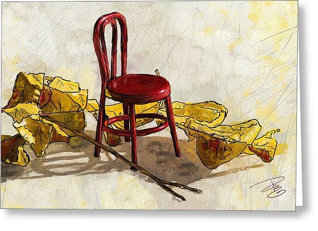 Red Chair And Yellow Leaves Greeting Card by Debra Baldwin