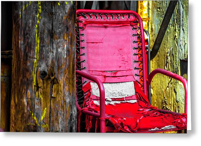 Red Chair In Alley Ver4 Dsc2997 Greeting Card