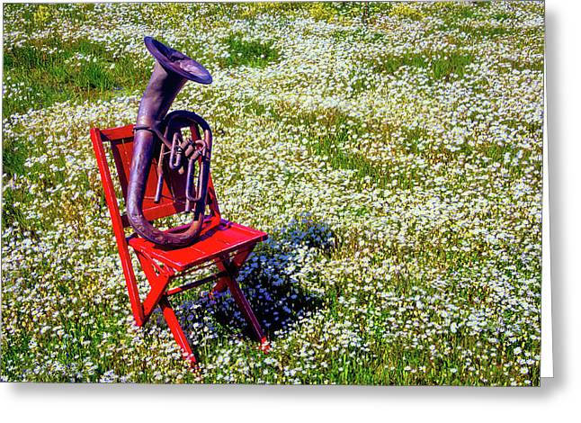 Red Chair With Old Horn Greeting Card