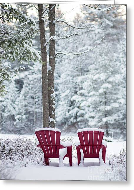Red Chairs By The Anderson Pond Winter Greeting Card