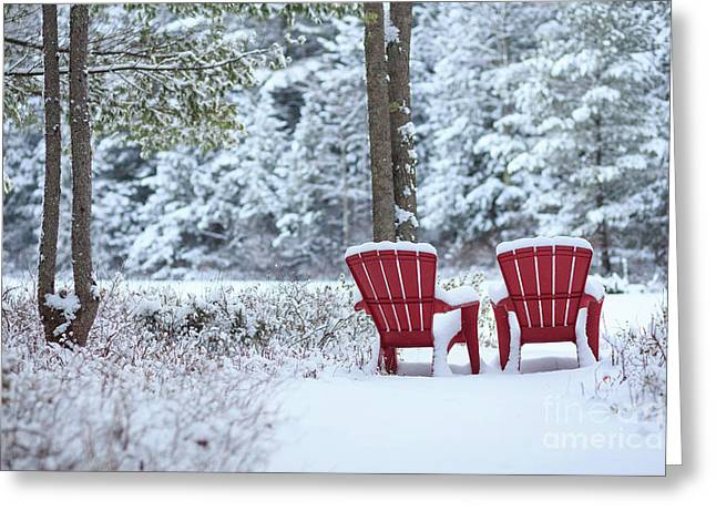 Red Chairs In The Snow Greeting Card