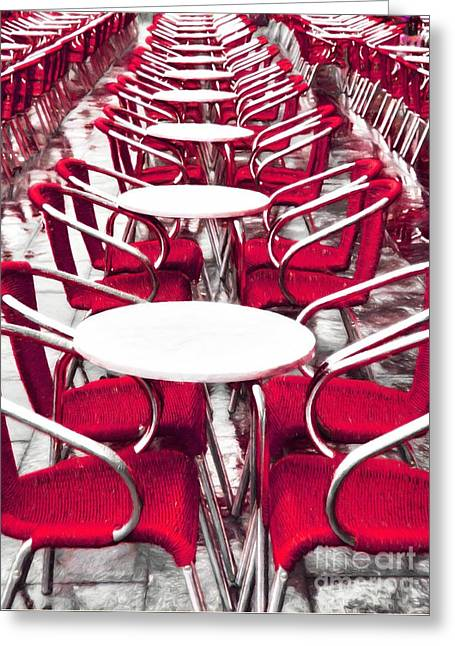 Red Chairs In Venice Greeting Card by Mel Steinhauer