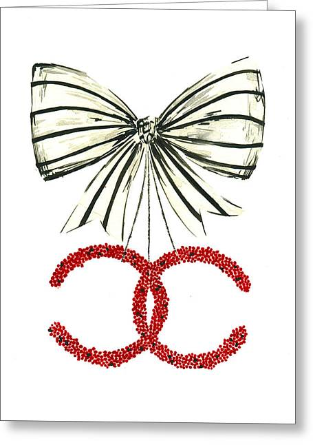 Red Chanel Bow  Greeting Card by Koma Art