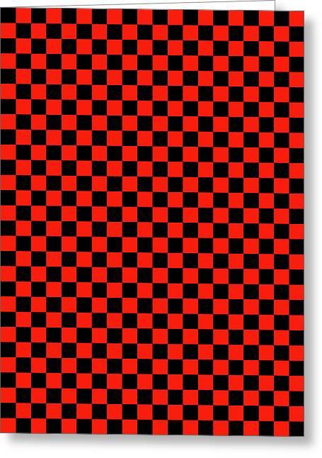 Red Checker Board Greeting Card by Daniel Hagerman