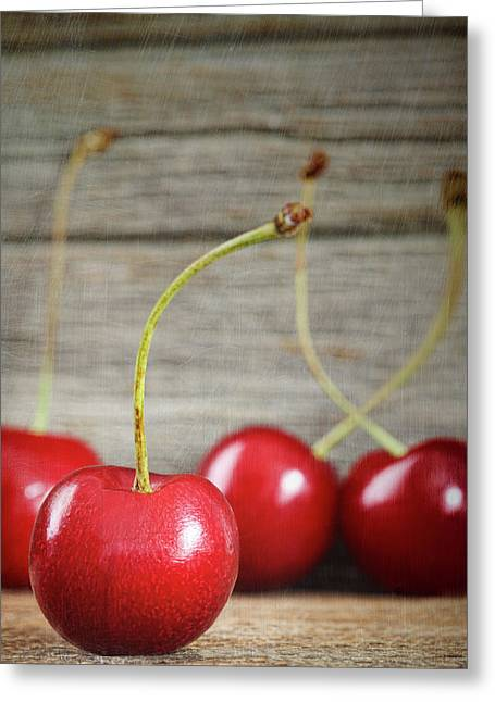 Red Cherries On Barn Wood Greeting Card by Sandra Cunningham